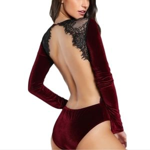 Burgundy Velvet Bodysuit Open Lace Back
